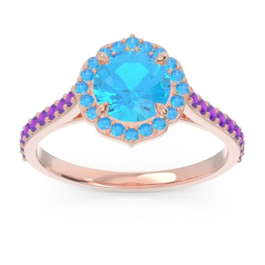 Swiss Blue Topaz Halo Pave Pulla Ring with Amethyst in 14K Rose Gold