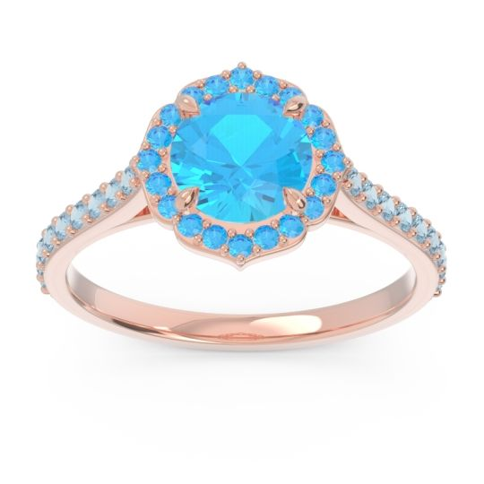 Swiss Blue Topaz Halo Pave Pulla Ring with Aquamarine in 14K Rose Gold