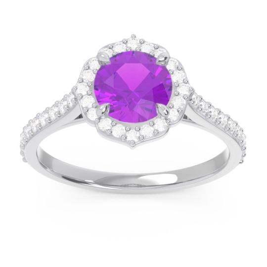 Halo Pave Pulla Amethyst Ring with Diamond in 14k White Gold