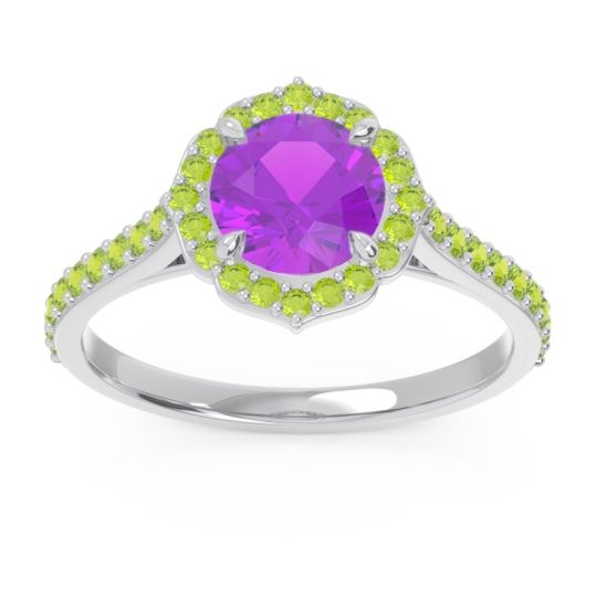 Amethyst Halo Pave Pulla Ring with Peridot in Platinum