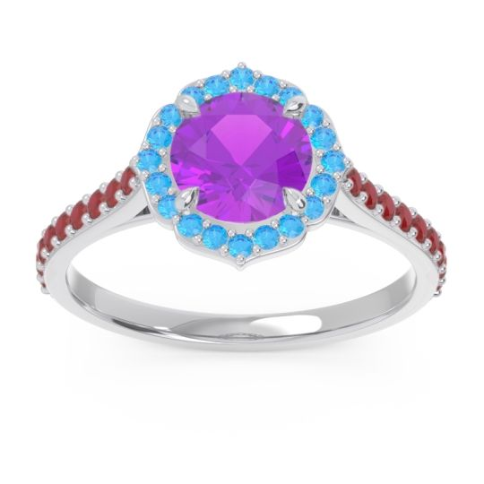 Halo Pave Pulla Amethyst Ring with Swiss Blue Topaz and Ruby in Platinum