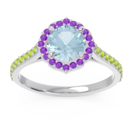 Aquamarine Halo Pave Pulla Ring with Amethyst and Peridot in 18k White Gold