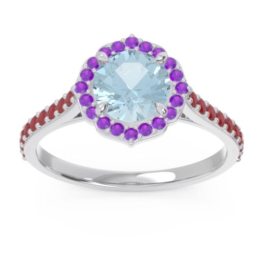Aquamarine Halo Pave Pulla Ring with Amethyst and Ruby in 14k White Gold