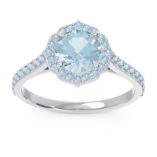 Aquamarine Halo Pave Pulla Ring in Palladium