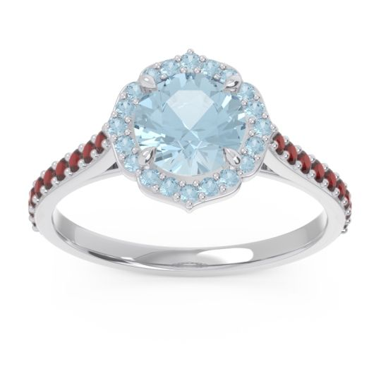 Aquamarine Halo Pave Pulla Ring with Garnet in 14k White Gold
