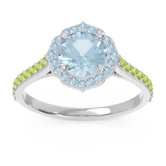Aquamarine Halo Pave Pulla Ring with Peridot in Platinum