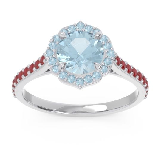 Aquamarine Halo Pave Pulla Ring with Ruby in Platinum