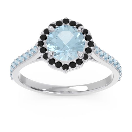 Aquamarine Halo Pave Pulla Ring with Black Onyx in 14k White Gold