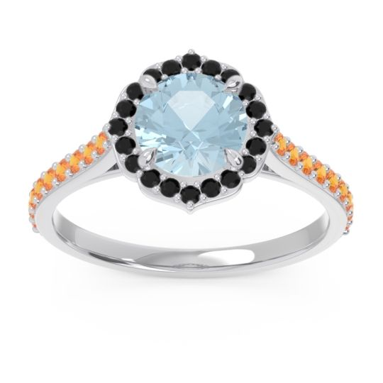 Aquamarine Halo Pave Pulla Ring with Black Onyx and Citrine in Palladium