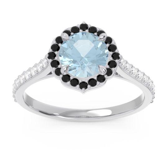 Aquamarine Halo Pave Pulla Ring with Black Onyx and Diamond in Platinum