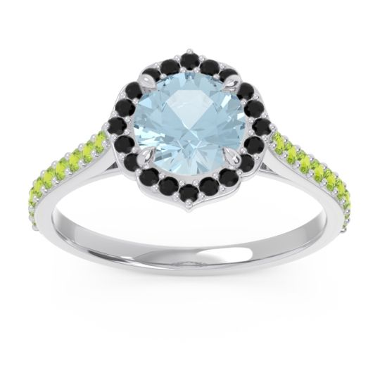 Halo Pave Pulla Aquamarine Ring with Black Onyx and Peridot in Platinum