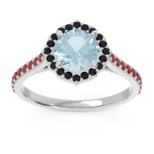 Aquamarine Halo Pave Pulla Ring with Black Onyx and Ruby in 18k White Gold