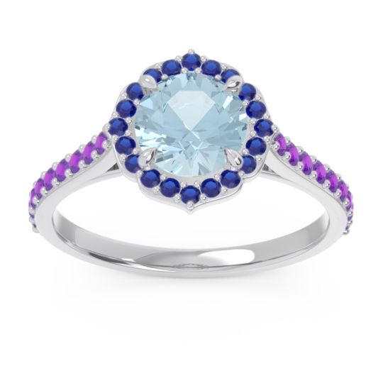 Aquamarine Halo Pave Pulla Ring with Blue Sapphire and Amethyst in 18k White Gold