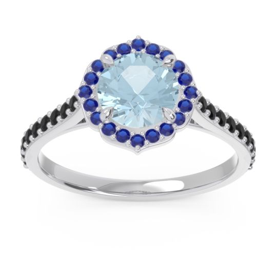 Aquamarine Halo Pave Pulla Ring with Blue Sapphire and Black Onyx in Palladium