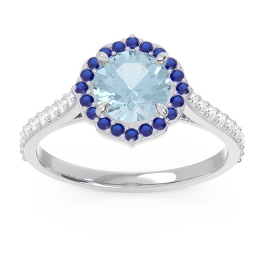 Aquamarine Halo Pave Pulla Ring with Blue Sapphire and Diamond in 14k White Gold