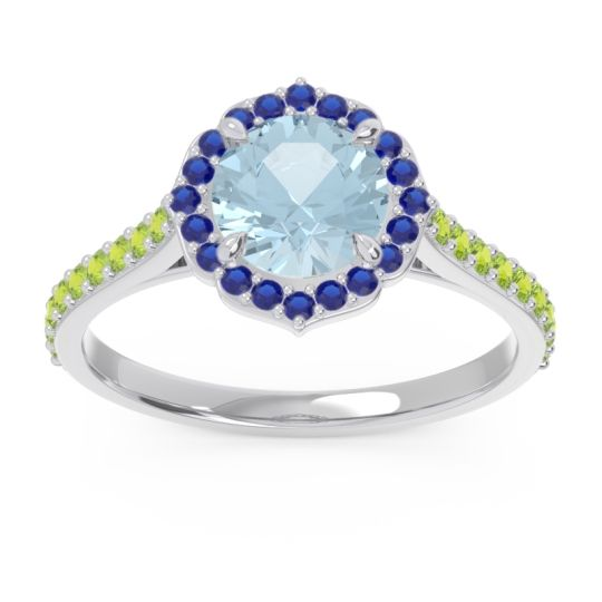 Aquamarine Halo Pave Pulla Ring with Blue Sapphire and Peridot in Palladium