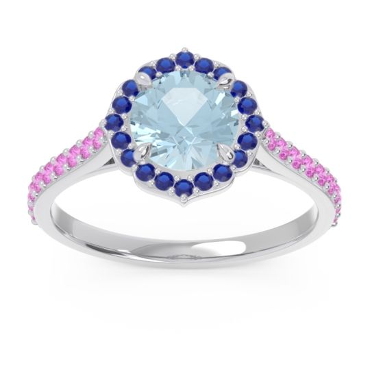 Aquamarine Halo Pave Pulla Ring with Blue Sapphire and Pink Tourmaline in Platinum