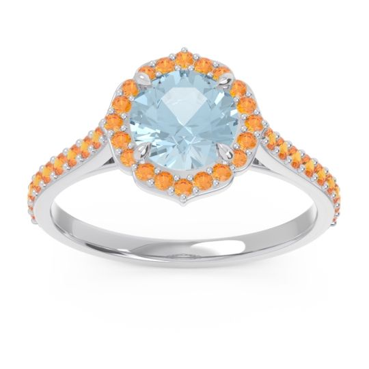 Aquamarine Halo Pave Pulla Ring with Citrine in 14k White Gold
