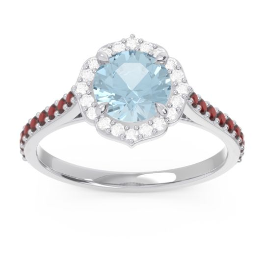 Aquamarine Halo Pave Pulla Ring with Diamond and Garnet in Palladium