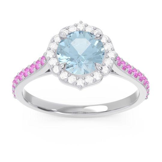 Aquamarine Halo Pave Pulla Ring with Diamond and Pink Tourmaline in Platinum