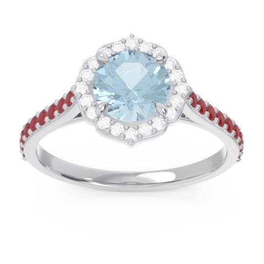 Aquamarine Halo Pave Pulla Ring with Diamond and Ruby in 18k White Gold
