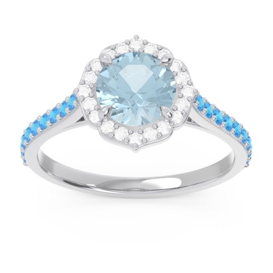 Aquamarine Halo Pave Pulla Ring with Diamond and Swiss Blue Topaz in 18k White Gold