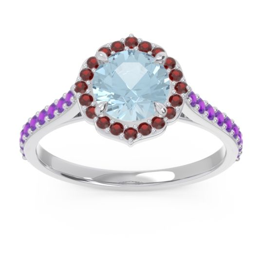 Aquamarine Halo Pave Pulla Ring with Garnet and Amethyst in Palladium