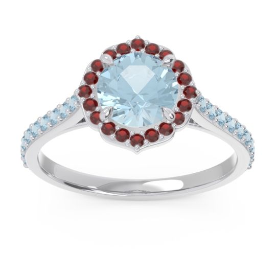 Aquamarine Halo Pave Pulla Ring with Garnet in 18k White Gold