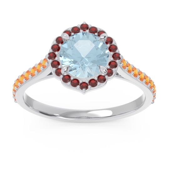 Aquamarine Halo Pave Pulla Ring with Garnet and Citrine in Platinum