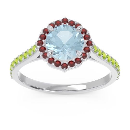 Aquamarine Halo Pave Pulla Ring with Garnet and Peridot in 18k White Gold