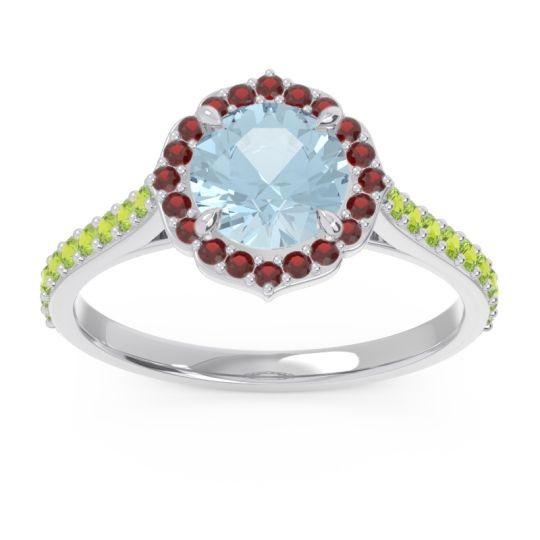 Aquamarine Halo Pave Pulla Ring with Garnet and Peridot in Platinum