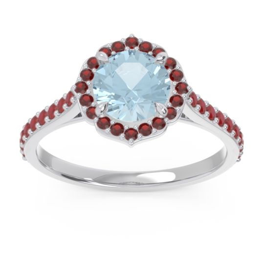 Aquamarine Halo Pave Pulla Ring with Garnet and Ruby in Platinum
