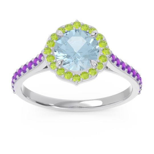 Aquamarine Halo Pave Pulla Ring with Peridot and Amethyst in 14k White Gold