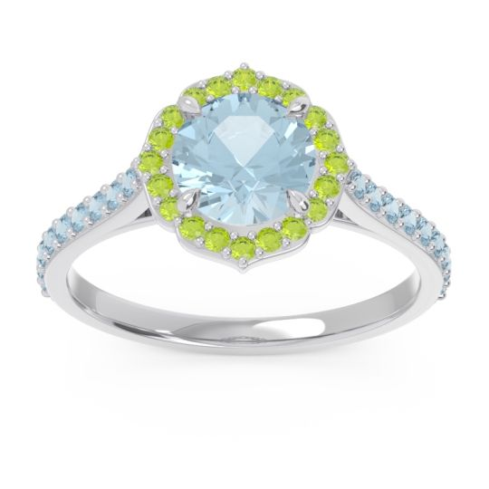 Aquamarine Halo Pave Pulla Ring with Peridot in 14k White Gold