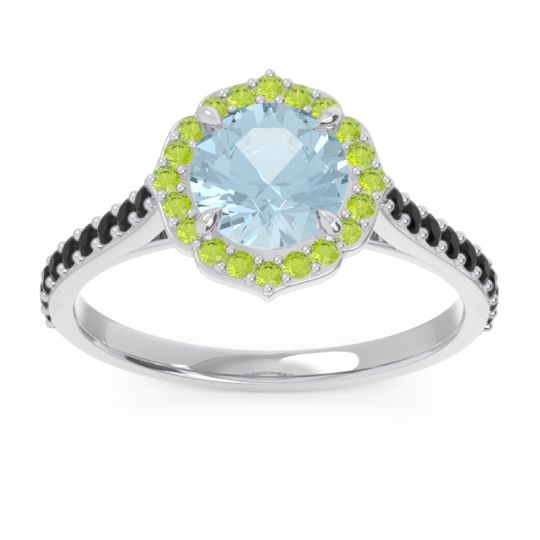 Aquamarine Halo Pave Pulla Ring with Peridot and Black Onyx in 14k White Gold