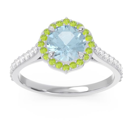 Aquamarine Halo Pave Pulla Ring with Peridot and Diamond in 14k White Gold