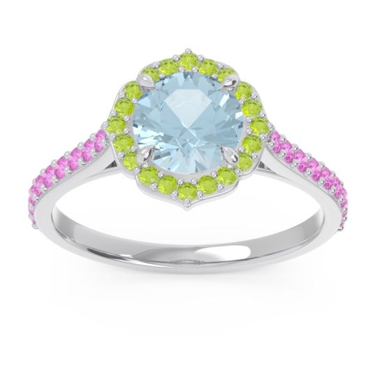 Aquamarine Halo Pave Pulla Ring with Peridot and Pink Tourmaline in Platinum