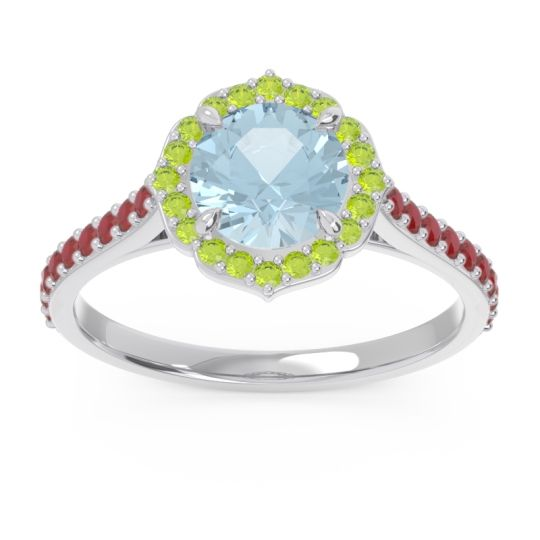 Aquamarine Halo Pave Pulla Ring with Peridot and Ruby in 18k White Gold