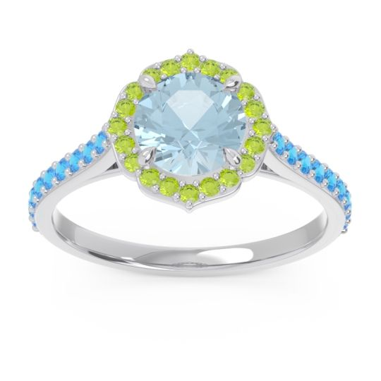 Aquamarine Halo Pave Pulla Ring with Peridot and Swiss Blue Topaz in 18k White Gold