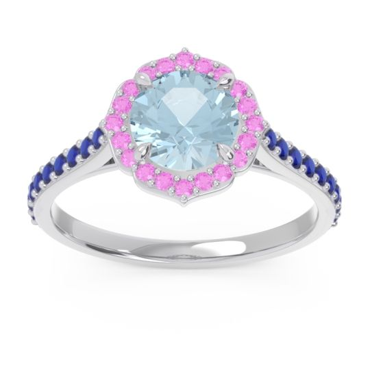 Aquamarine Halo Pave Pulla Ring with Pink Tourmaline and Blue Sapphire in 14k White Gold