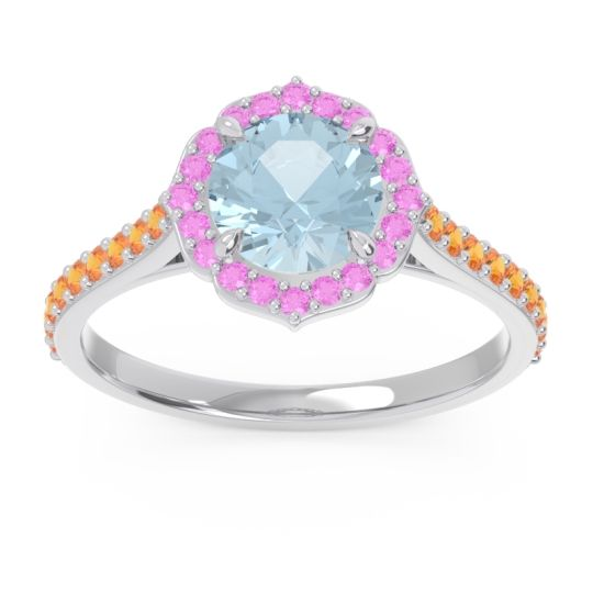 Aquamarine Halo Pave Pulla Ring with Pink Tourmaline and Citrine in 18k White Gold