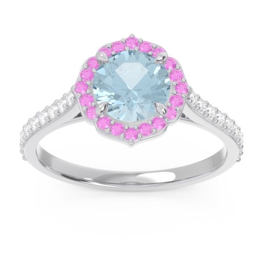Aquamarine Halo Pave Pulla Ring with Pink Tourmaline and Diamond in 14k White Gold