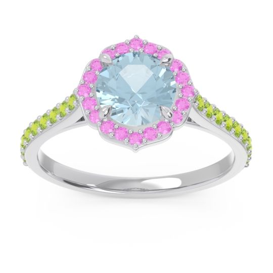 Aquamarine Halo Pave Pulla Ring with Pink Tourmaline and Peridot in Platinum