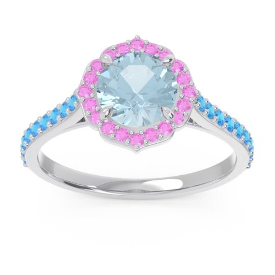 Aquamarine Halo Pave Pulla Ring with Pink Tourmaline and Swiss Blue Topaz in Platinum