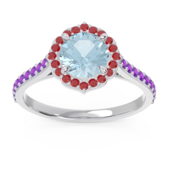 Aquamarine Halo Pave Pulla Ring with Ruby and Amethyst in Platinum