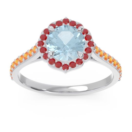 Aquamarine Halo Pave Pulla Ring with Ruby and Citrine in Palladium