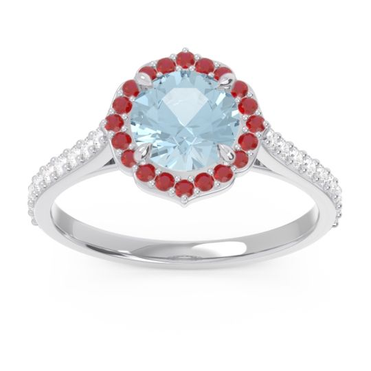 Aquamarine Halo Pave Pulla Ring with Ruby and Diamond in Platinum