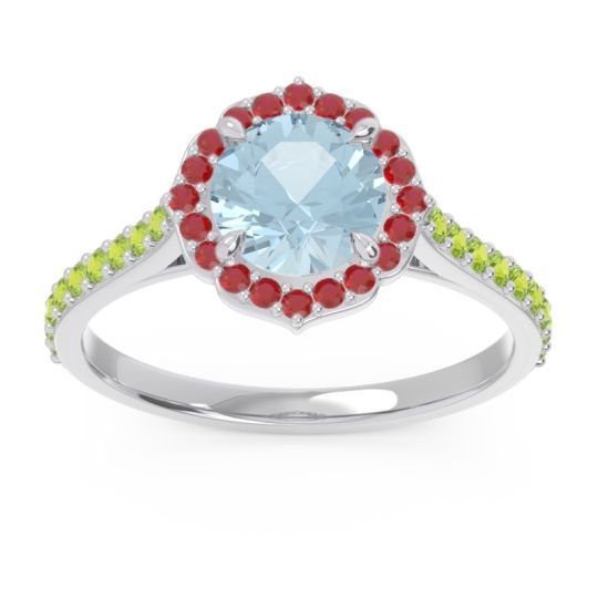 Aquamarine Halo Pave Pulla Ring with Ruby and Peridot in Platinum