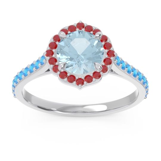 Aquamarine Halo Pave Pulla Ring with Ruby and Swiss Blue Topaz in 18k White Gold