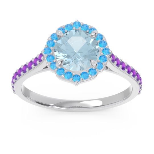 Aquamarine Halo Pave Pulla Ring with Swiss Blue Topaz and Amethyst in Platinum